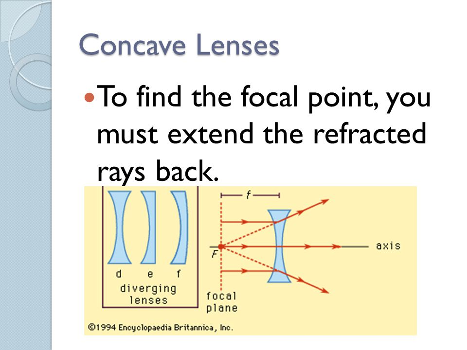 Concave Lenses To find the focal point, you must extend the refracted rays back.