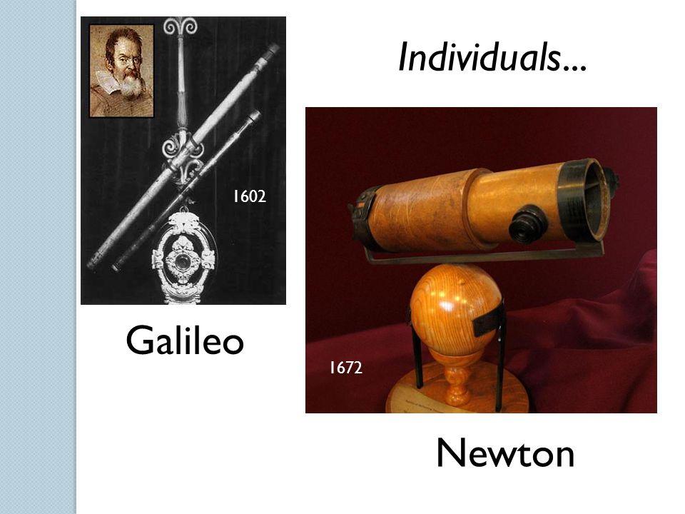 1602 1672 Individuals... Galileo Newton