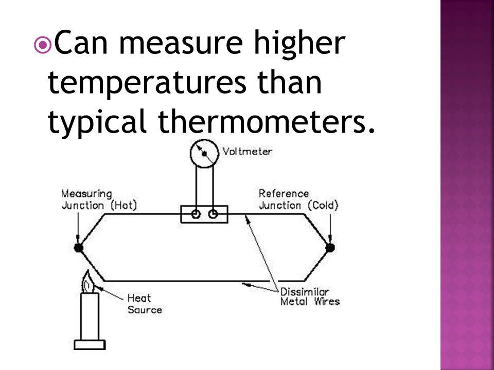  Can measure higher temperatures than typical thermometers.