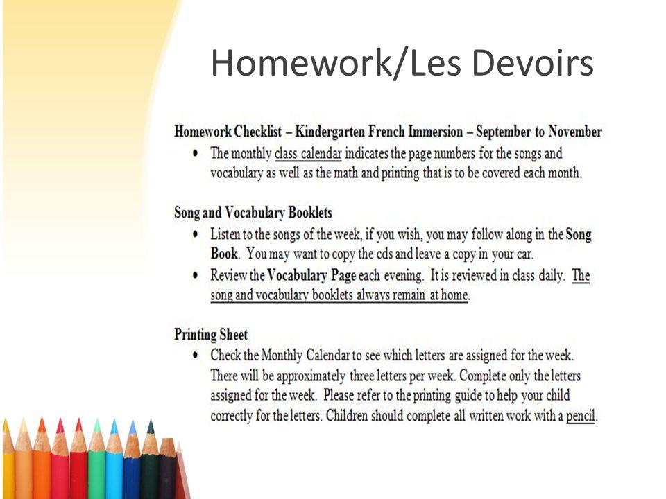 Homework/Les Devoirs
