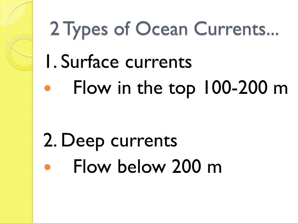 2 Types of Ocean Currents... 1. Surface currents Flow in the top 100-200 m 2. Deep currents Flow below 200 m