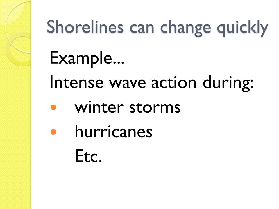 Shorelines can change quickly Example... Intense wave action during: winter storms hurricanes Etc.