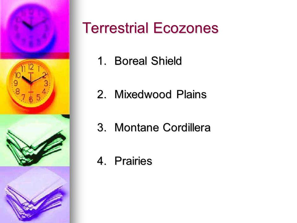 Terrestrial Ecozones 1.Boreal Shield 2.Mixedwood Plains 3.Montane Cordillera 4.Prairies