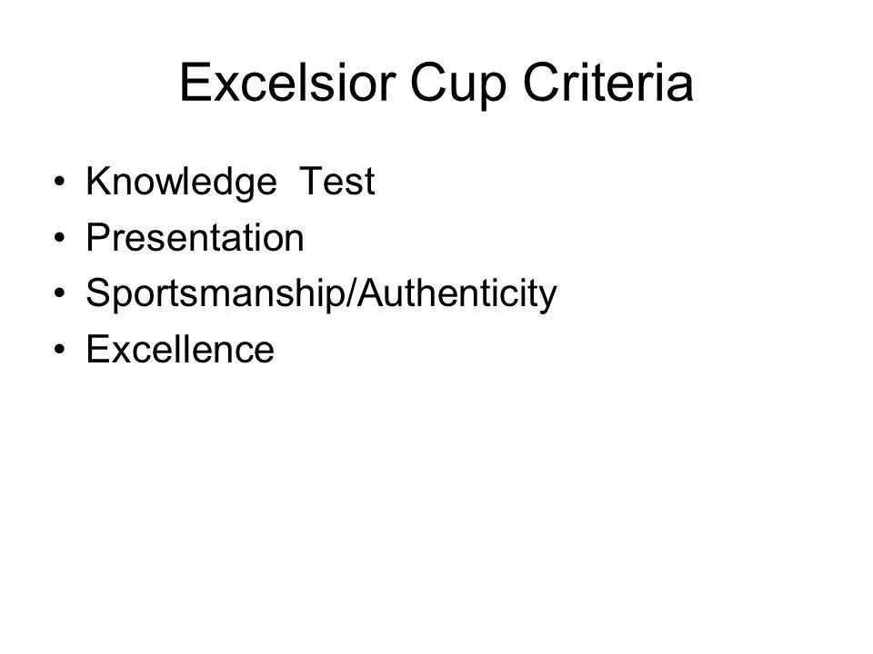 Excelsior Cup Criteria Knowledge Test Presentation Sportsmanship/Authenticity Excellence