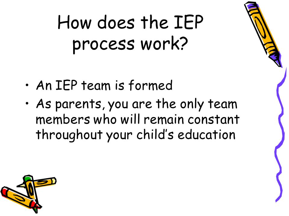 SCHEDULE for delivery of services The IEP must include the projected date for services and modifications to begin and the anticipated frequency, location, and duration of those services and modifications.