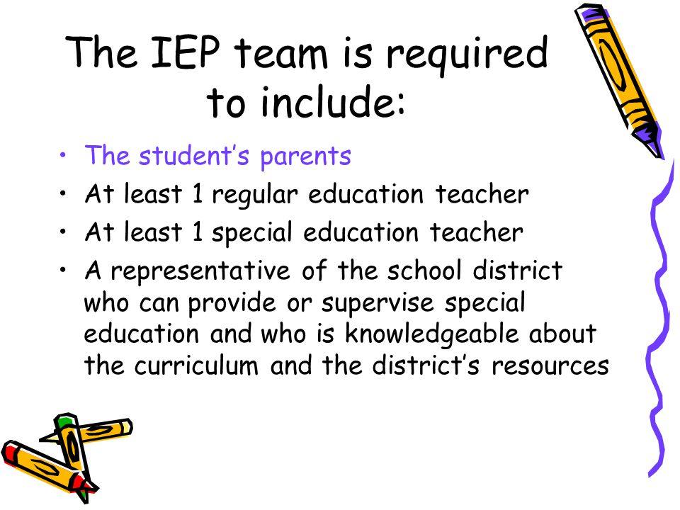 The IEP team is required to include: The student's parents At least 1 regular education teacher At least 1 special education teacher A representative