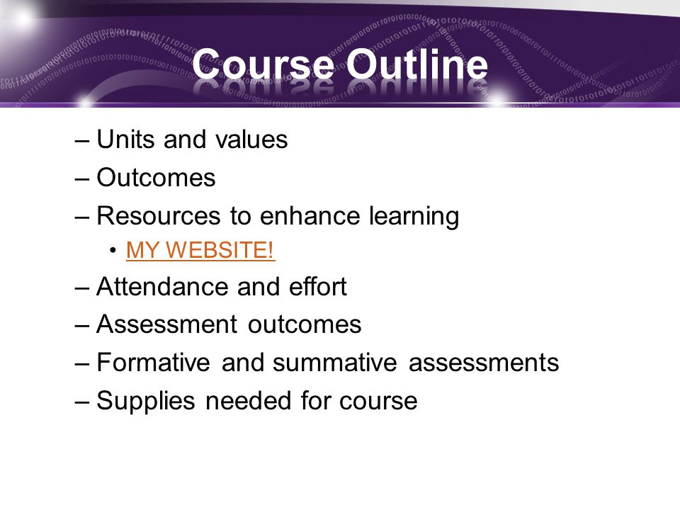 –Units and values –Outcomes –Resources to enhance learning MY WEBSITE.