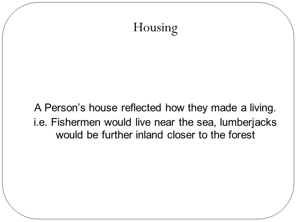 Housing A Person's house reflected how they made a living.