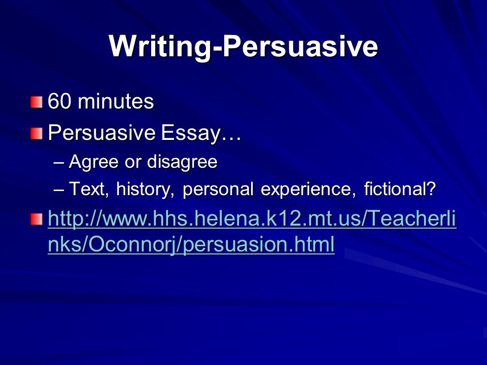 Writing-Persuasive 60 minutes Persuasive Essay… –Agree or disagree –Text, history, personal experience, fictional.