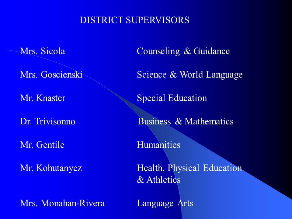 DISTRICT SUPERVISORS Mrs.SicolaCounseling & Guidance Mrs.