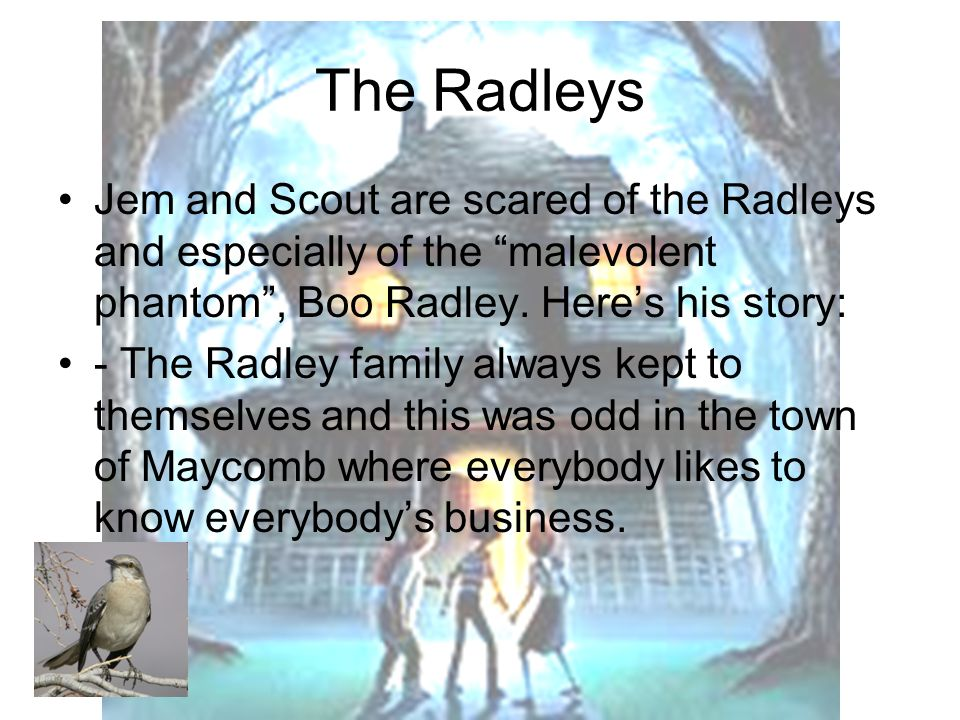 The Radleys Jem and Scout are scared of the Radleys and especially of the malevolent phantom , Boo Radley.