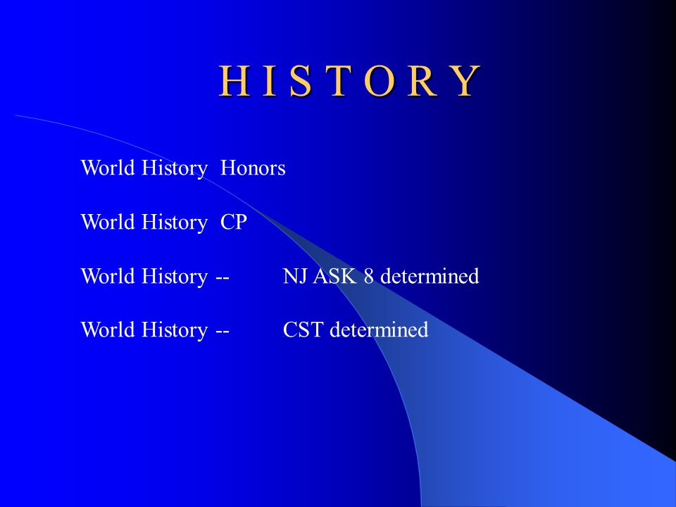 H I S T O R Y World History Honors World History CP World History--NJ ASK 8 determined World History --CST determined