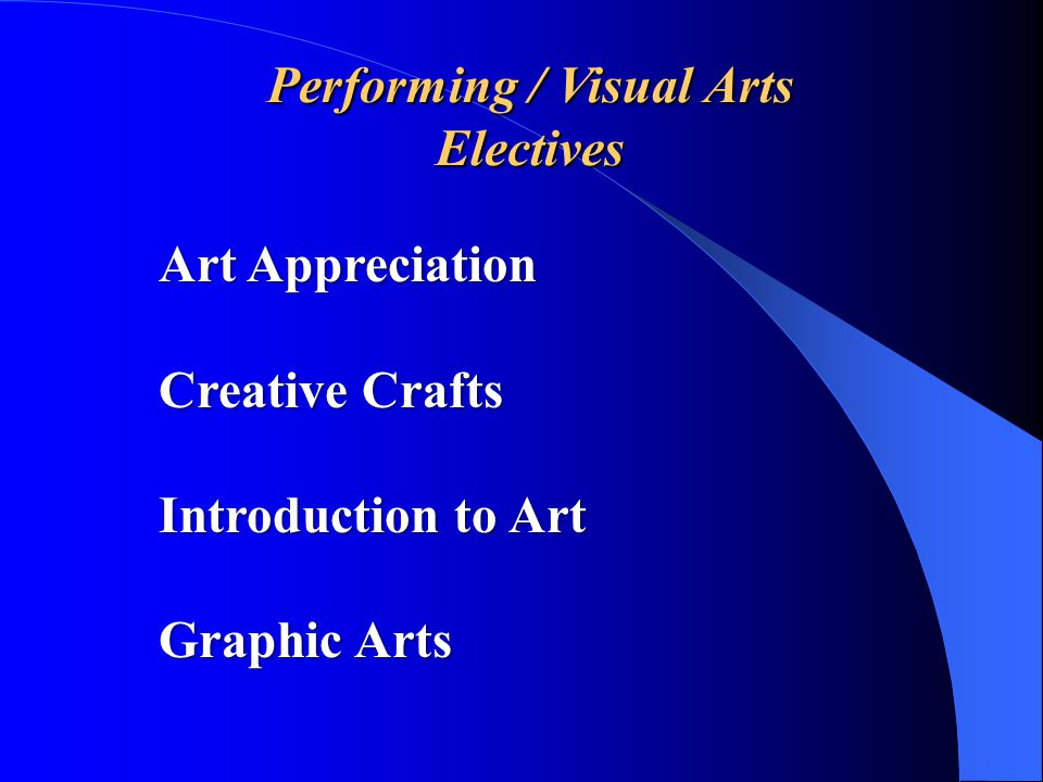 Performing Arts Electives Band Mixed Chorus Music Appreciation Theory & Harmony Theatre 1