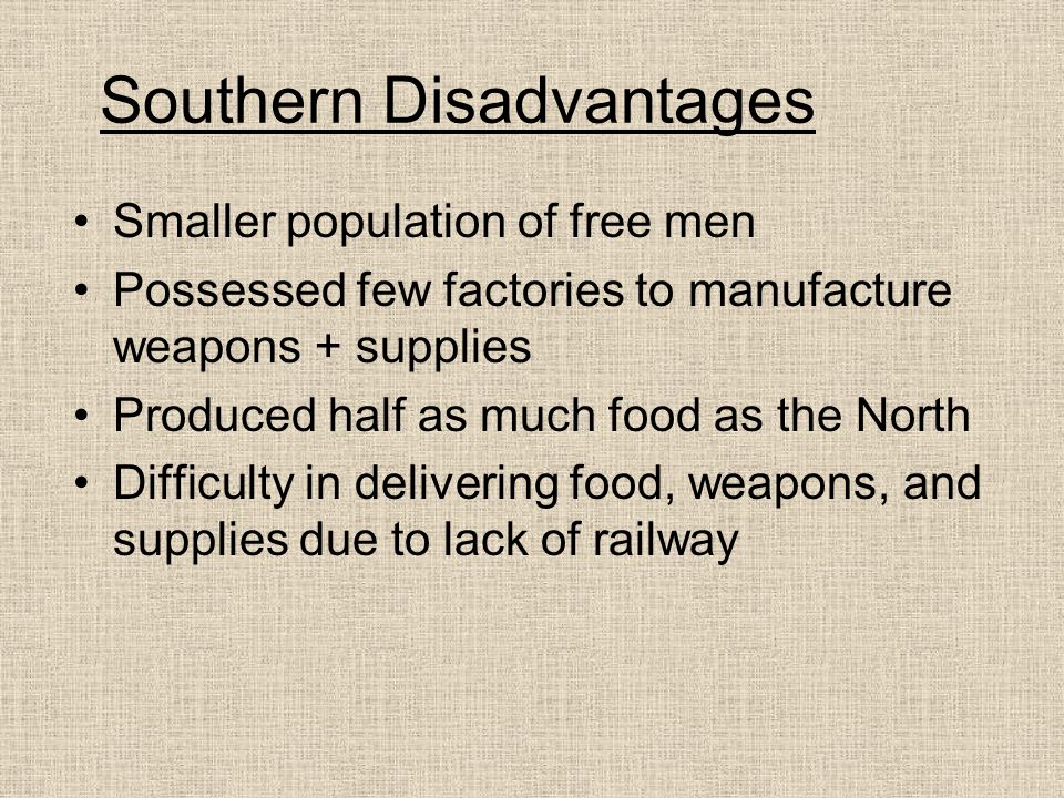 Southern Disadvantages Smaller population of free men Possessed few factories to manufacture weapons + supplies Produced half as much food as the Nort