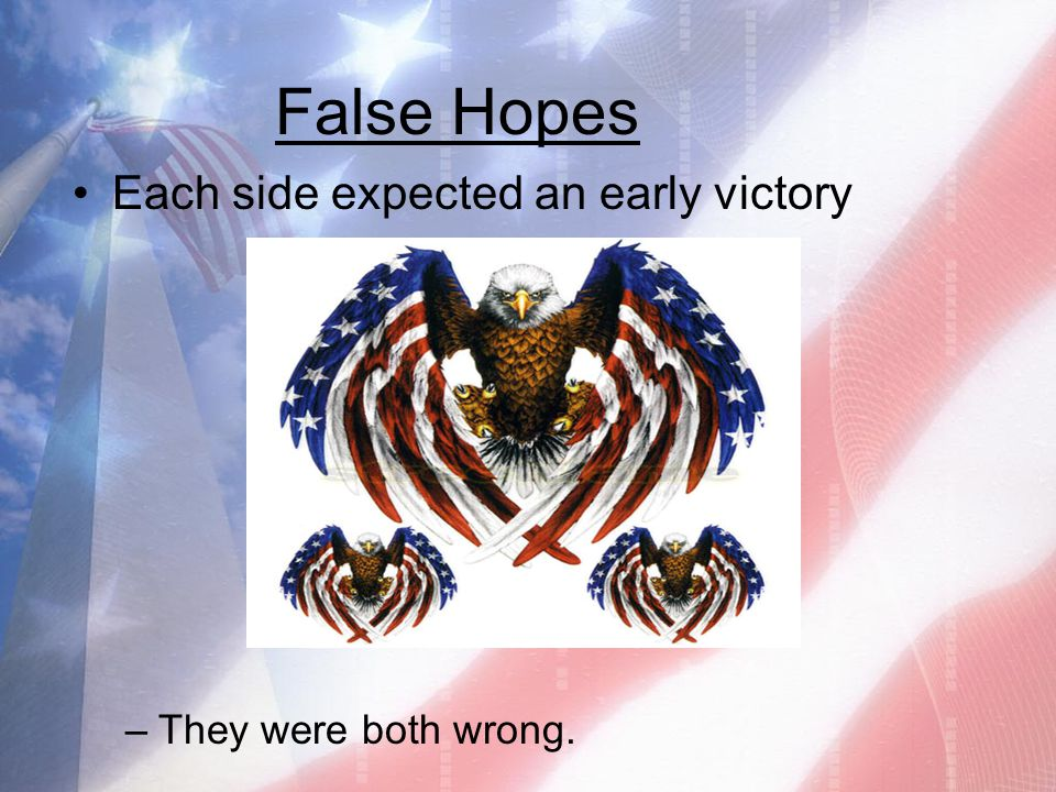 False Hopes Each side expected an early victory –They were both wrong.