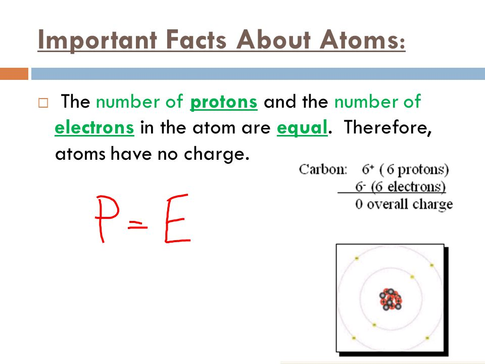 Important Facts About Atoms:  The number of protons and the number of electrons in the atom are equal. Therefore, atoms have no charge.