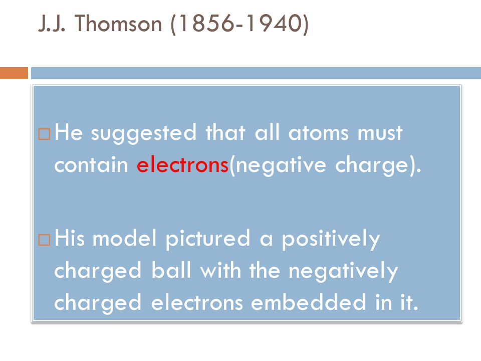 J.J. Thomson (1856-1940)  He suggested that all atoms must contain electrons(negative charge).  His model pictured a positively charged ball with th