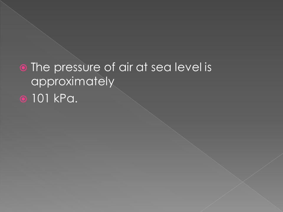  The pressure of air at sea level is approximately  101 kPa.