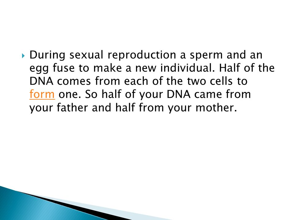  During sexual reproduction a sperm and an egg fuse to make a new individual. Half of the DNA comes from each of the two cells to form one. So half o