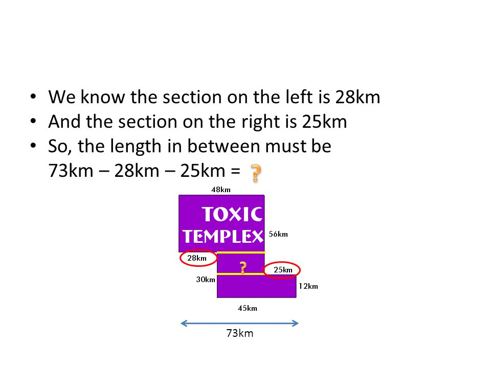 We know the section on the left is 28km And the section on the right is 25km So, the length in between must be 73km – 28km – 25km = 73km