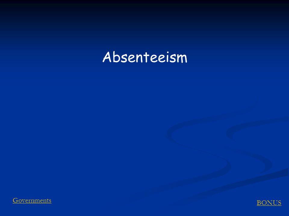 BONUS Governments Absenteeism