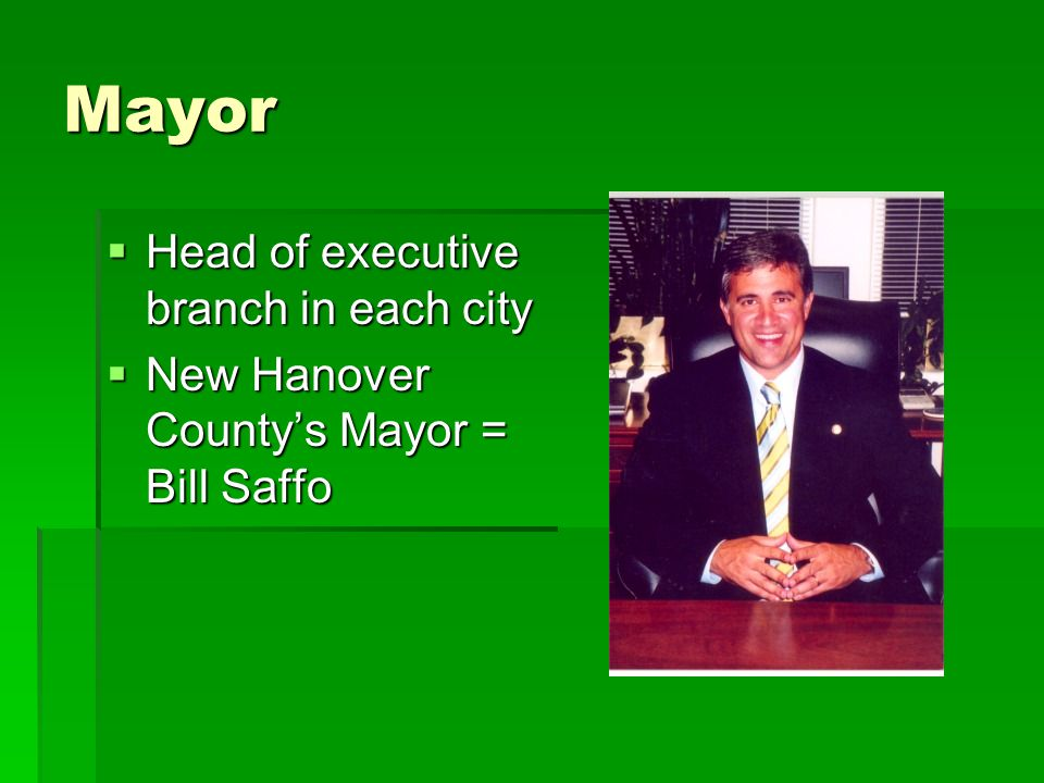 Mayor  Head of executive branch in each city  New Hanover County's Mayor = Bill Saffo