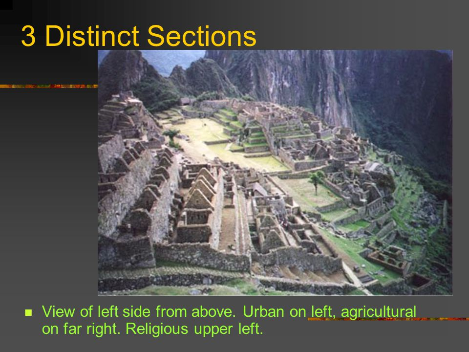 3 Distinct Sections View of left side from above. Urban on left, agricultural on far right.