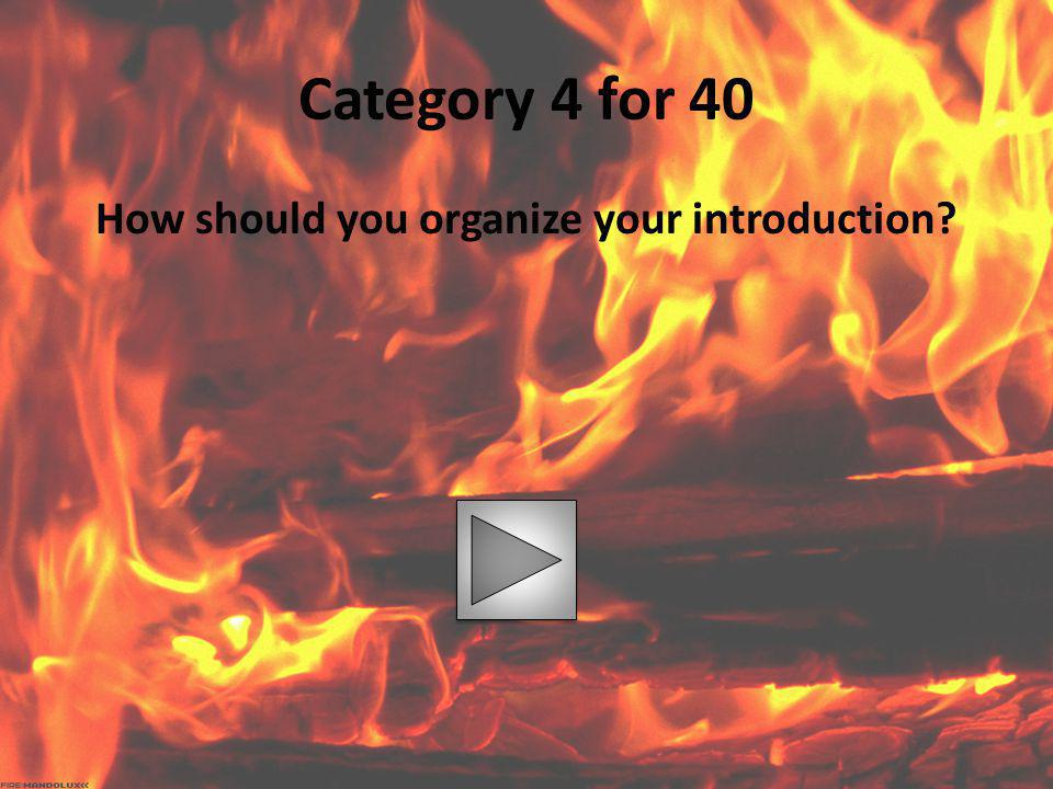 Category 4 for 40 How should you organize your introduction?