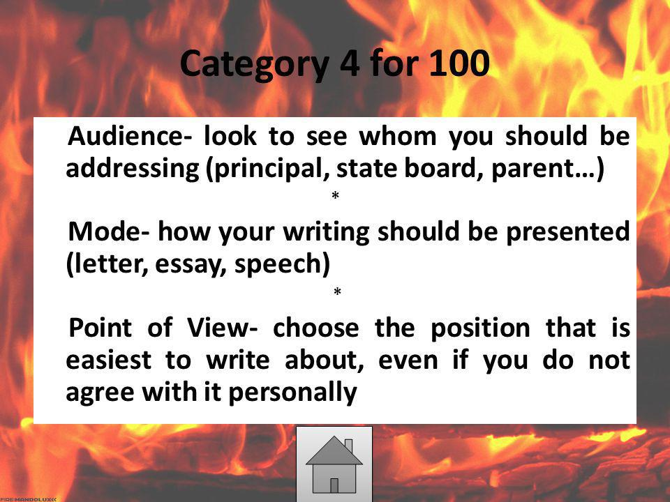 Category 4 for 100 Audience- look to see whom you should be addressing (principal, state board, parent…) * Mode- how your writing should be presented