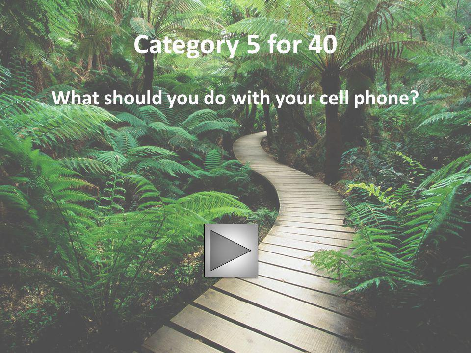 Category 5 for 40 What should you do with your cell phone?