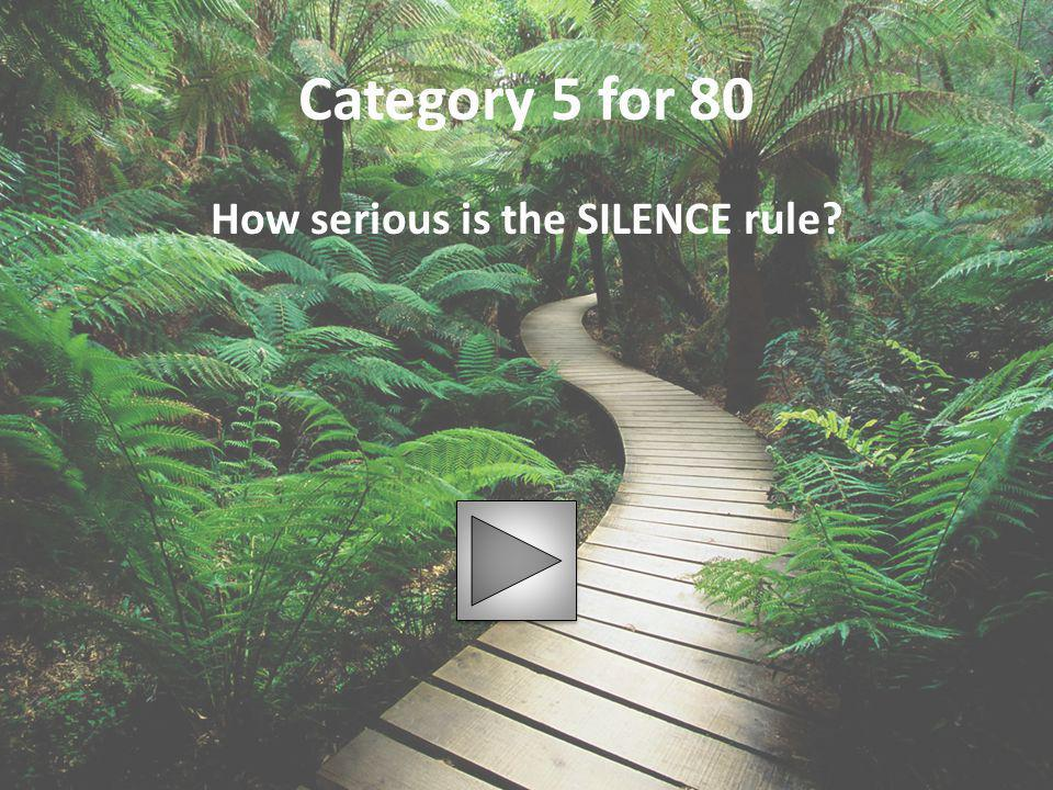 Category 5 for 80 How serious is the SILENCE rule?