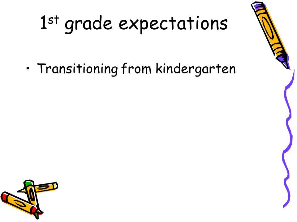 1 st grade expectations Transitioning from kindergarten