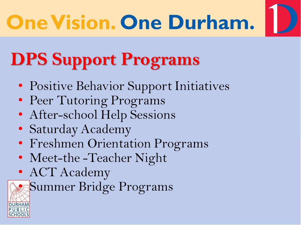 DPS Support Programs Positive Behavior Support Initiatives Peer Tutoring Programs After-school Help Sessions Saturday Academy Freshmen Orientation Programs Meet-the -Teacher Night ACT Academy Summer Bridge Programs