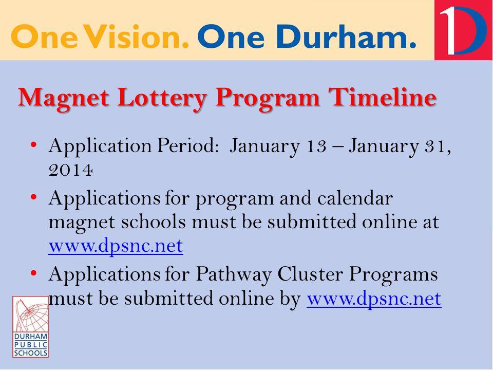 Magnet Lottery Program Timeline Application Period: January 13 – January 31, 2014 Applications for program and calendar magnet schools must be submitt