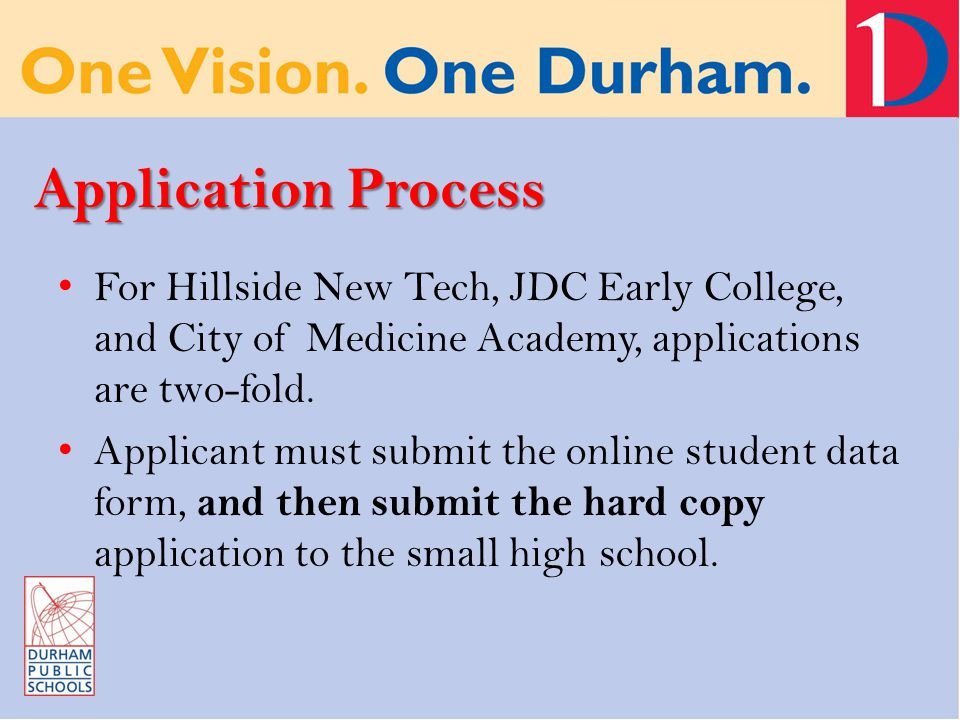 Application Process For Hillside New Tech, JDC Early College, and City of Medicine Academy, applications are two-fold. Applicant must submit the onlin