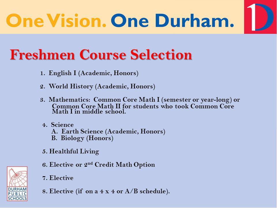 Freshmen Course Selection 1. English I (Academic, Honors) 2.