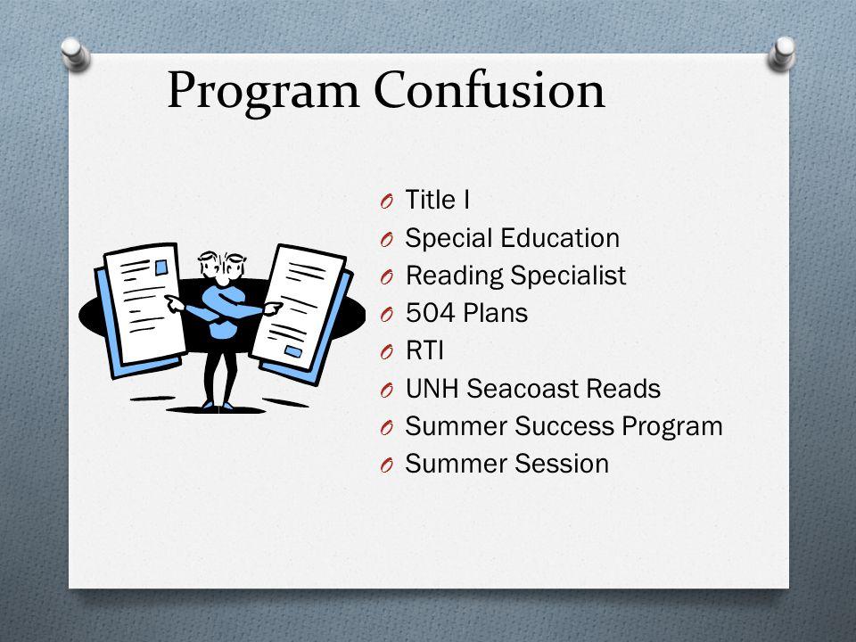 Program Confusion O Title I O Special Education O Reading Specialist O 504 Plans O RTI O UNH Seacoast Reads O Summer Success Program O Summer Session