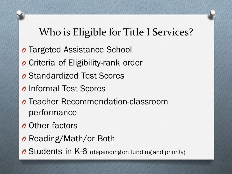 Who is Eligible for Title I Services.