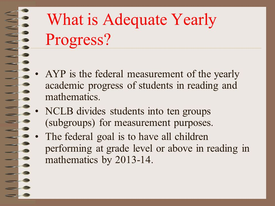 What is Adequate Yearly Progress? AYP is the federal measurement of the yearly academic progress of students in reading and mathematics. NCLB divides
