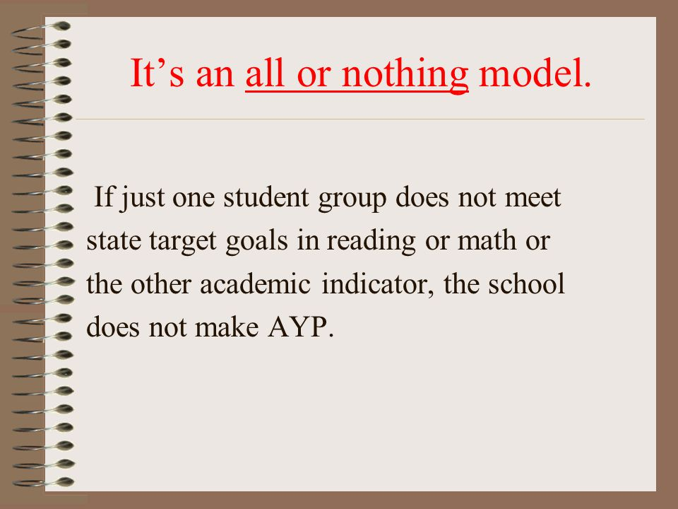 It's an all or nothing model. If just one student group does not meet state target goals in reading or math or the other academic indicator, the schoo