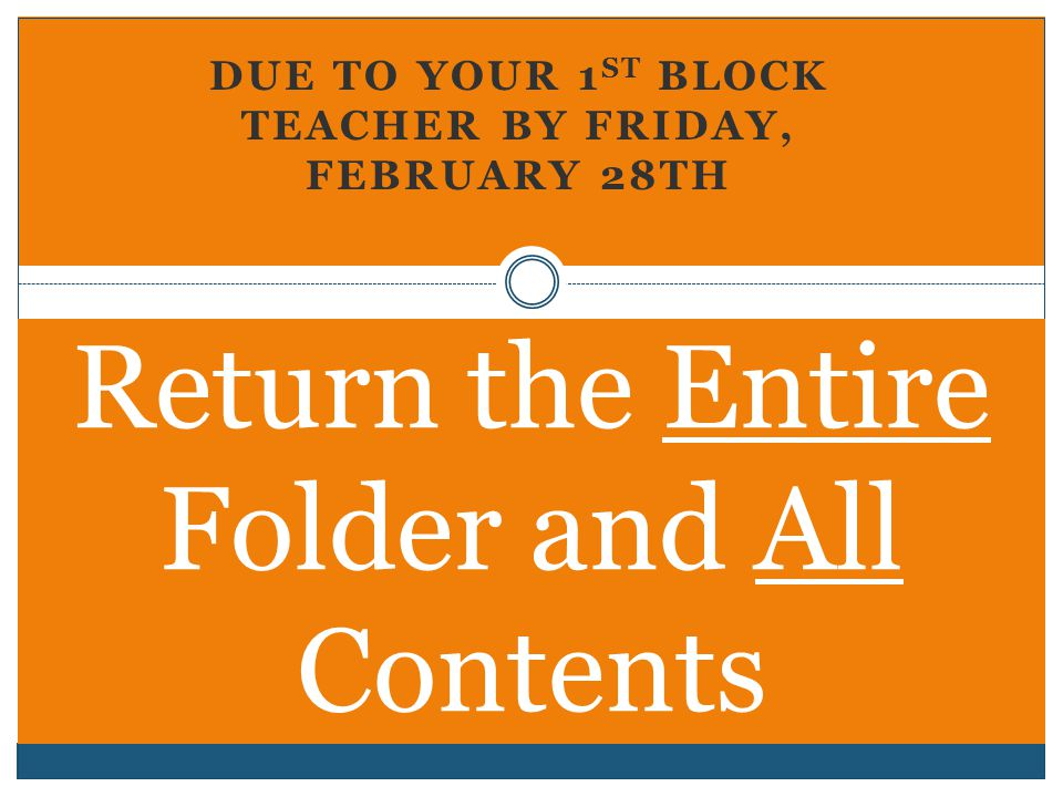 DUE TO YOUR 1 ST BLOCK TEACHER BY FRIDAY, FEBRUARY 28TH Return the Entire Folder and All Contents