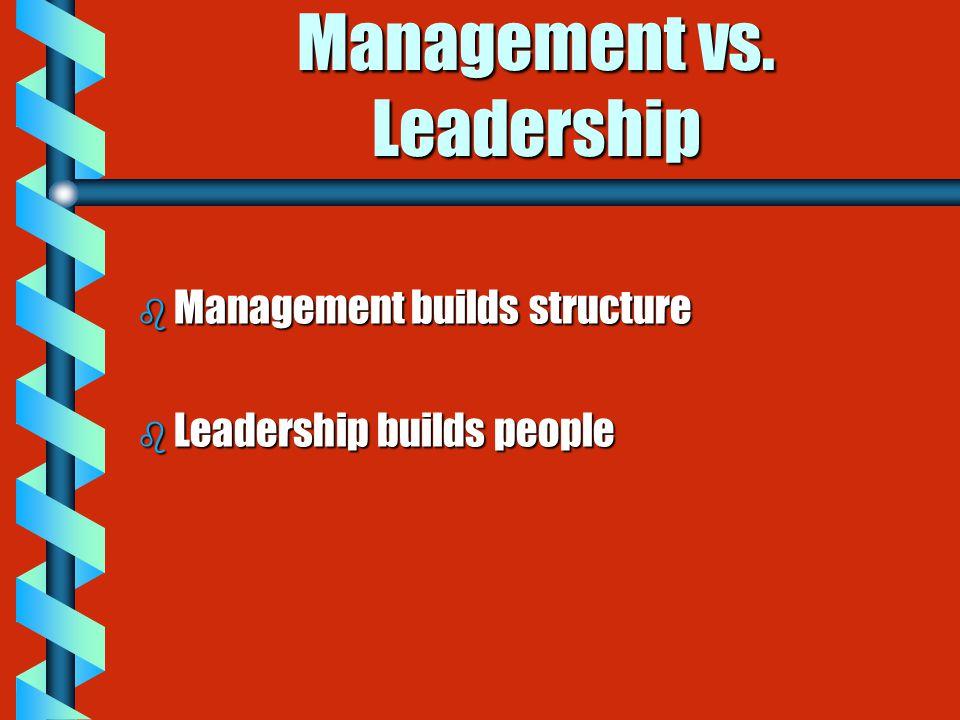 Management vs. Leadership b Management builds structure b Leadership builds people