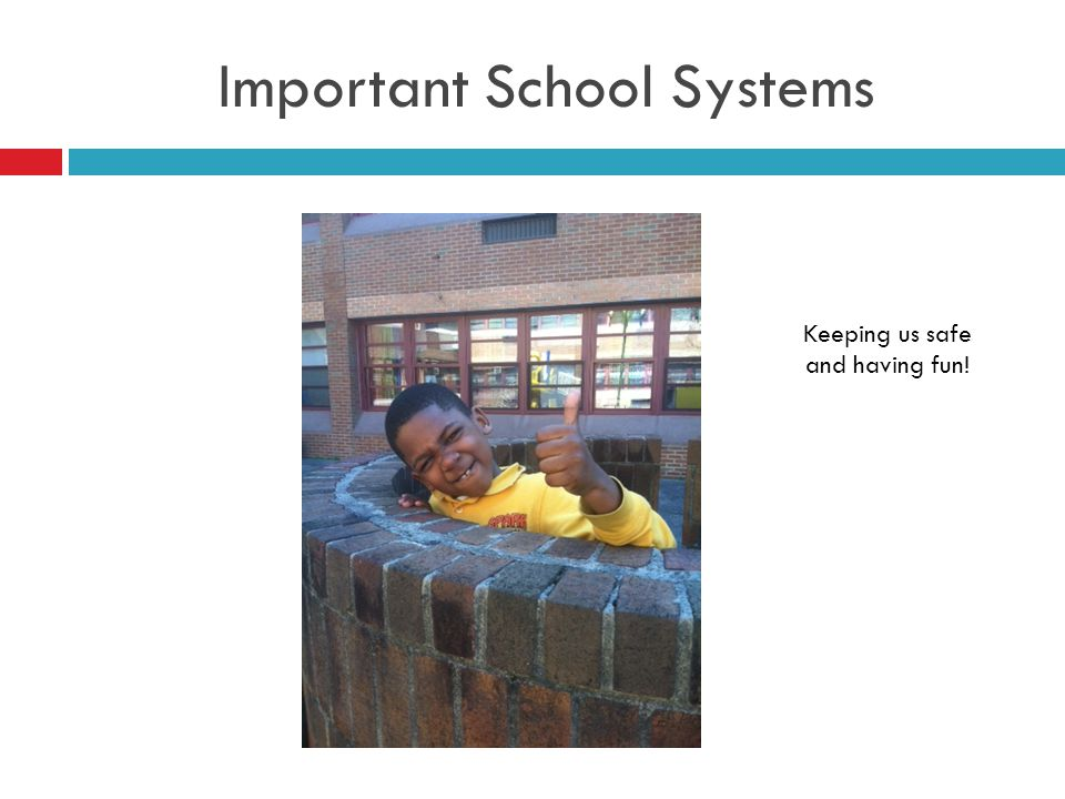 Important School Systems Keeping us safe and having fun!