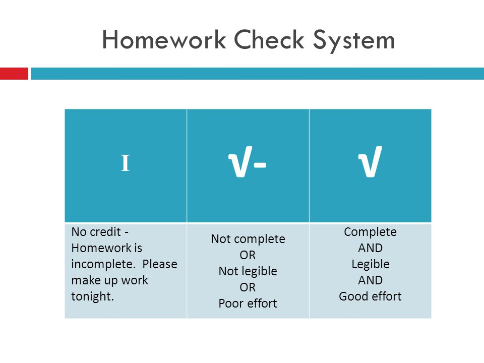 Homework Check System I √-√ No credit - Homework is incomplete. Please make up work tonight. Not complete OR Not legible OR Poor effort Complete AND L