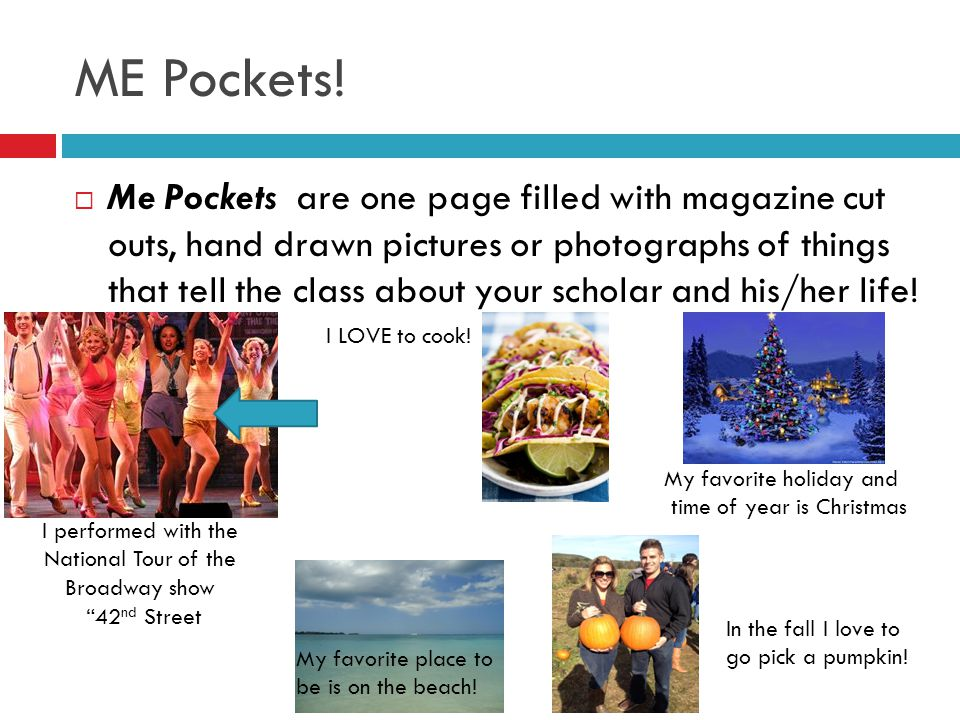 ME Pockets!  Me Pockets are one page filled with magazine cut outs, hand drawn pictures or photographs of things that tell the class about your schol