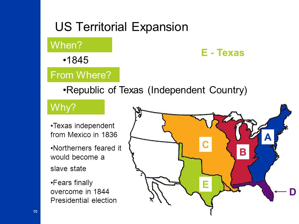 10 US Territorial Expansion A When? From Where? Why? 1845 Republic of Texas (Independent Country) Texas independent from Mexico in 1836 Northerners fe