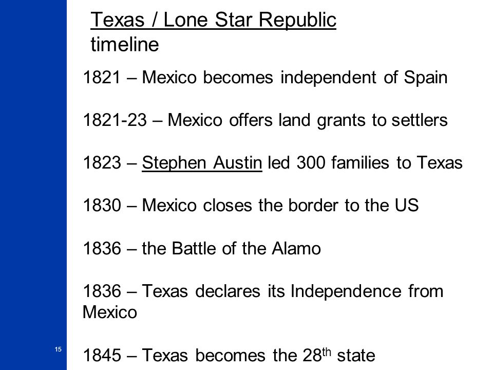 15 Texas / Lone Star Republic timeline 1821 – Mexico becomes independent of Spain 1821-23 – Mexico offers land grants to settlers 1823 – Stephen Austi