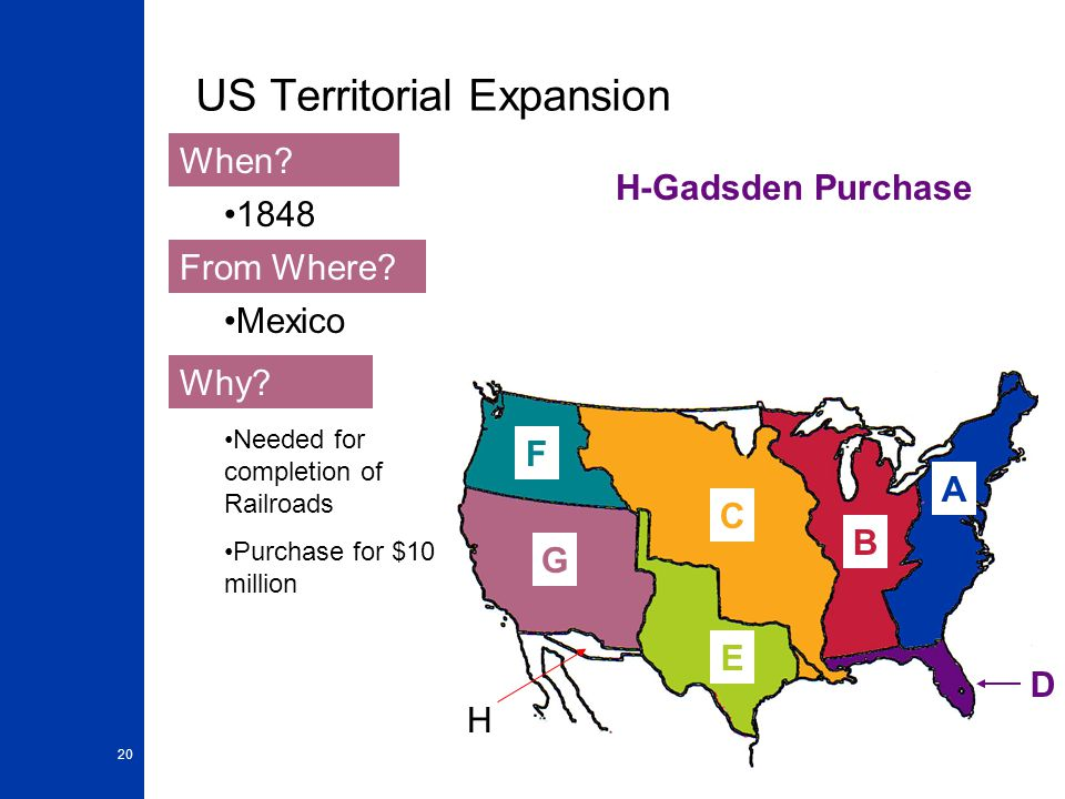 20 US Territorial Expansion A When? From Where? Why? 1848 Mexico Needed for completion of Railroads Purchase for $10 million B H-Gadsden Purchase D C