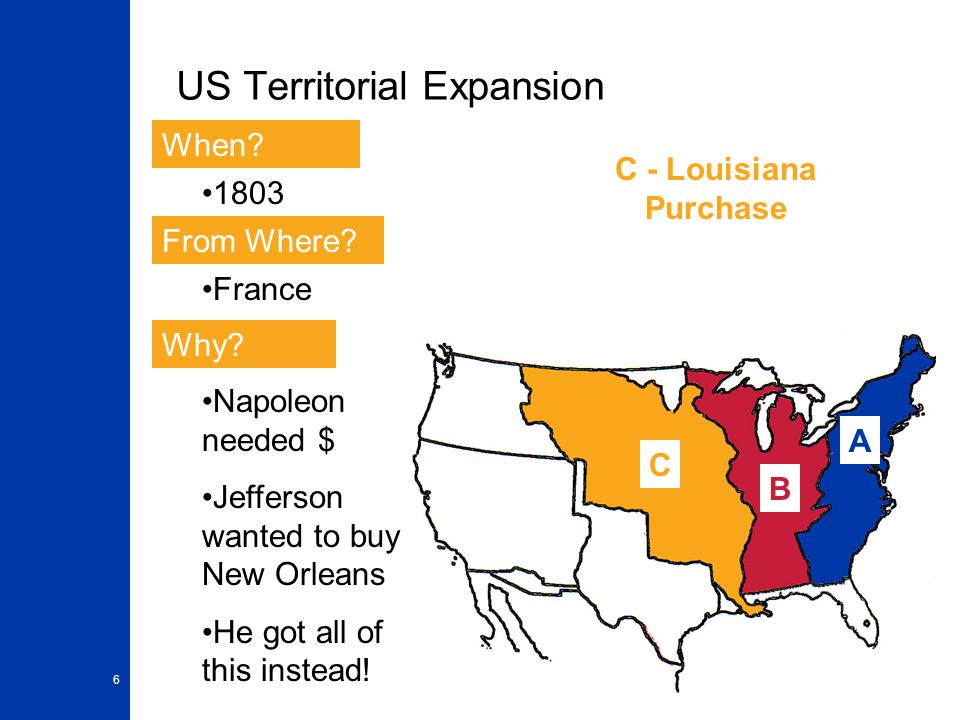 6 US Territorial Expansion A When? From Where? Why? 1803 France Napoleon needed $ Jefferson wanted to buy New Orleans He got all of this instead! B C