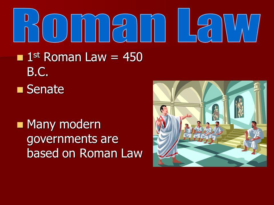 1 st Roman Law = 450 B.C. 1 st Roman Law = 450 B.C.